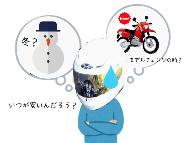 バイクを買うタイミングをうかがっている人