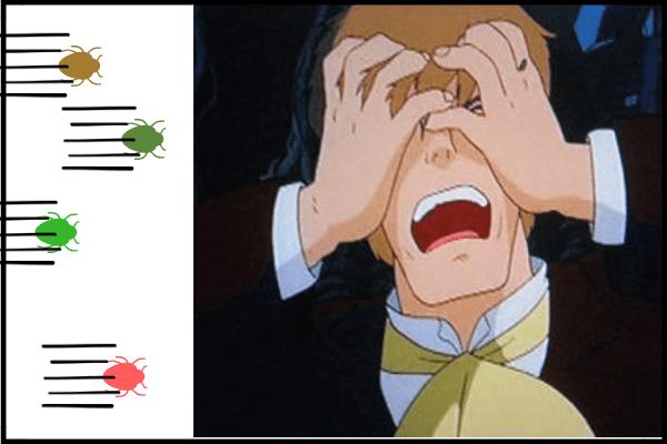 虫が目に入った男