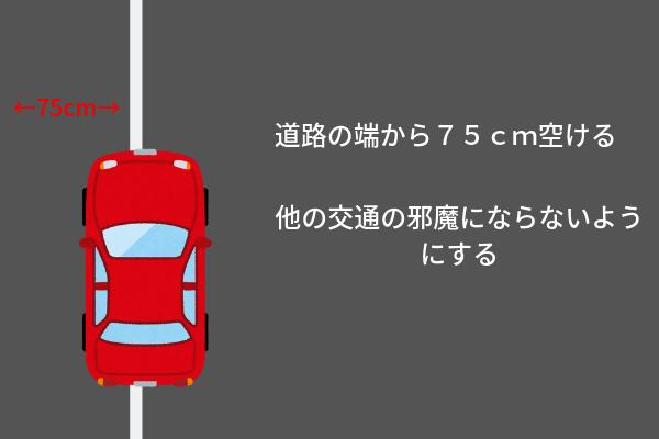 道路の端から75cm開けるのが正しい駐車方法